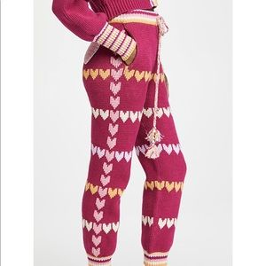 NWT LoveShackFancy the Chabela knitted pants pink with hearts size Small